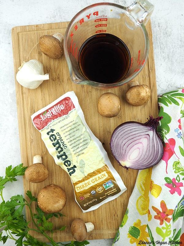 marsala wine, tempeh, mushrooms, onion, garlic