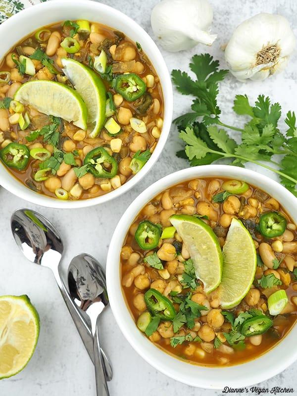 vegan white chili in bowls overhead