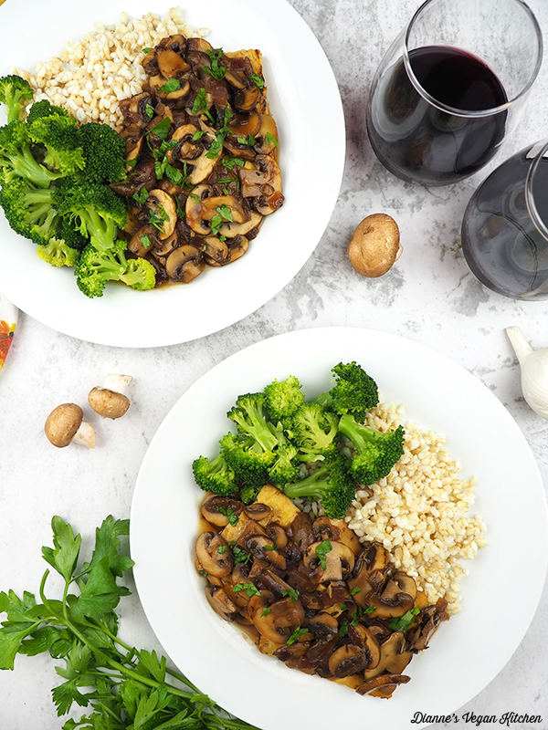 Tempeh and mushroom sauce on two plates from above