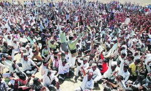 Protesting farmers during the public hearing held earlier this year - Photo courtesy Indian Express