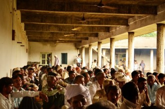 Village meeting in Jaspara on July 27, 2013...