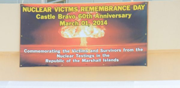 Sign commemorating Nuclear Victims Remembrance Day at the capital building of the Republic of the Marshall Islands, March 1, 2014