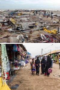 Top, people stand on the beach amongst destroyed boats and debris at Velankanni, in the southern Indian state of Tamil Nadu,on Dec. 27, 2004. Bottom, a shopping street that leads to the beach at Velankanni in December 2014. The shops, built with tin sheets, were completely destroyed in the 2004 tsunami. Associated Press (2004) and Amirtharaj Stephen for The Wall Street Journal (2014)