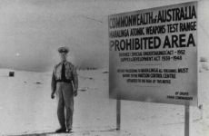 A police guard at one of the entries to the Maralinga atomic weapons test range. Photo: Fairfax Media