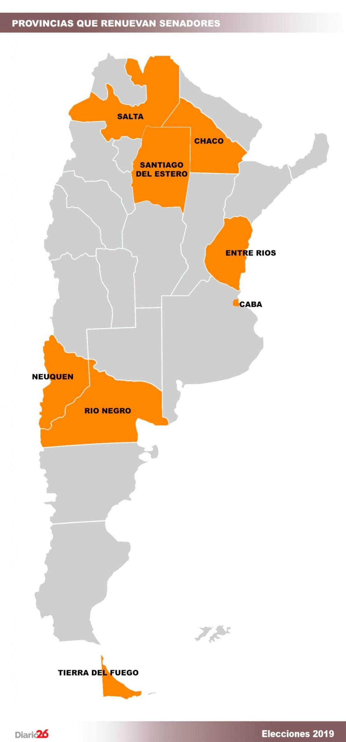 Provincias que renuevan senadores, elecciones 2019