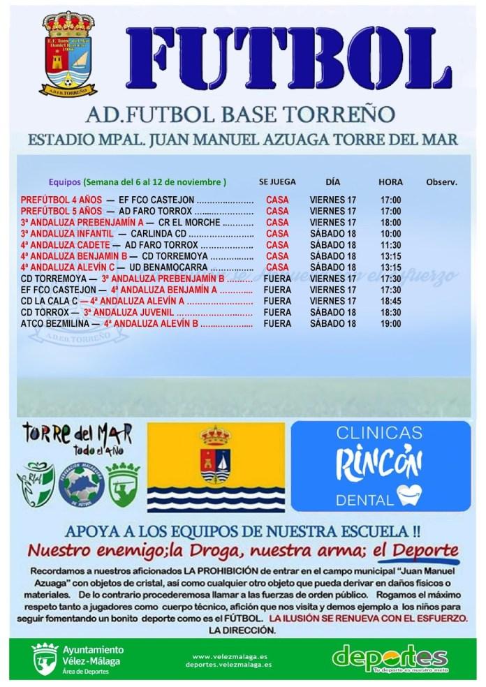 Calendario de partidos de la Escuela de Fútbol Torreño