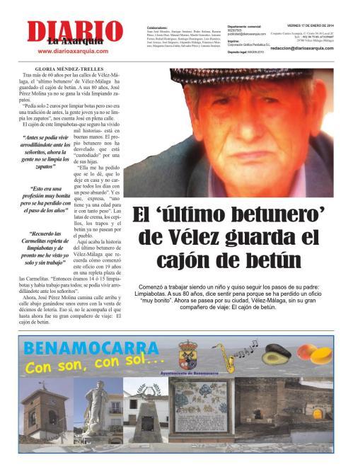 Una de las entrevistas realizada por DIARIO AXARQUÍA al betunero veleño.