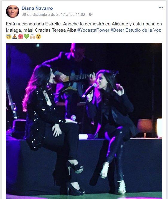 """""""Está naciendo una Estrella"""", ha dicho Diana Navarro de Teresa Alba en sus redes sociales."""