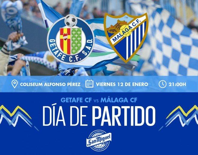 El Málaga CF visita este viernes (21:00 horas) el Coliseum Alfonso Pérez para medirse al Getafe CF. Última jornada de la primera vuelta de la competición para el cuadro malaguista.