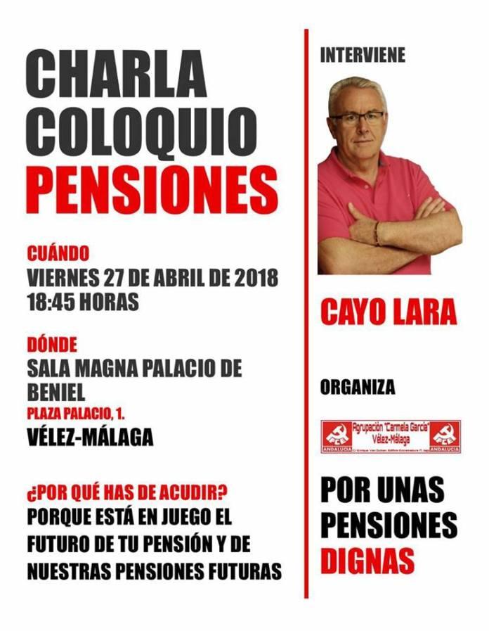 Cayo Lara ofrecerá una charla sobre las pensiones en Vélez-Málaga