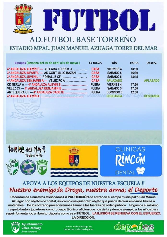 Agenda deportiva de la Escuela de Fútbol de Torre del Mar