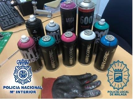 Identificados y detenidos cuatro de los grafiteros más activos de Málaga