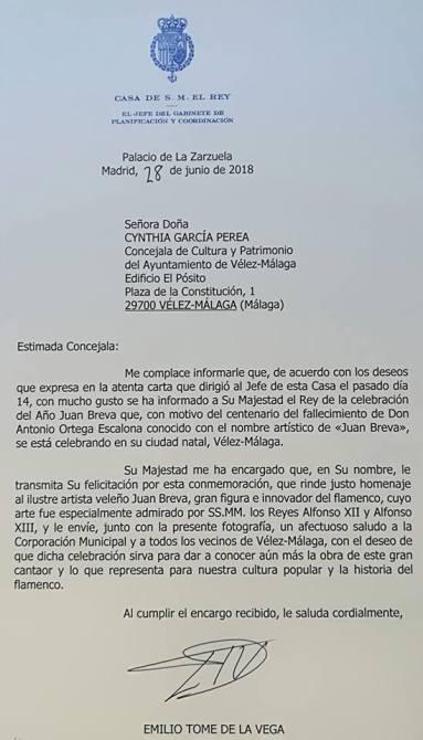 Esta es la carta de la Casa Real dirigida a la concejala de Cultura de Vélez-Málaga.