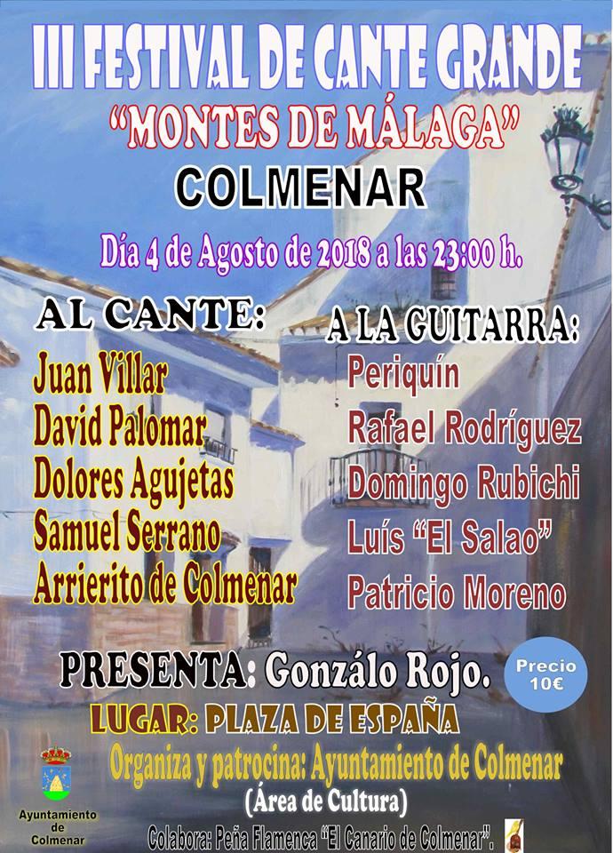 El III Festival de Cante Grande 'Montes de Málaga' tendrá lugar este sábado en Colmenar