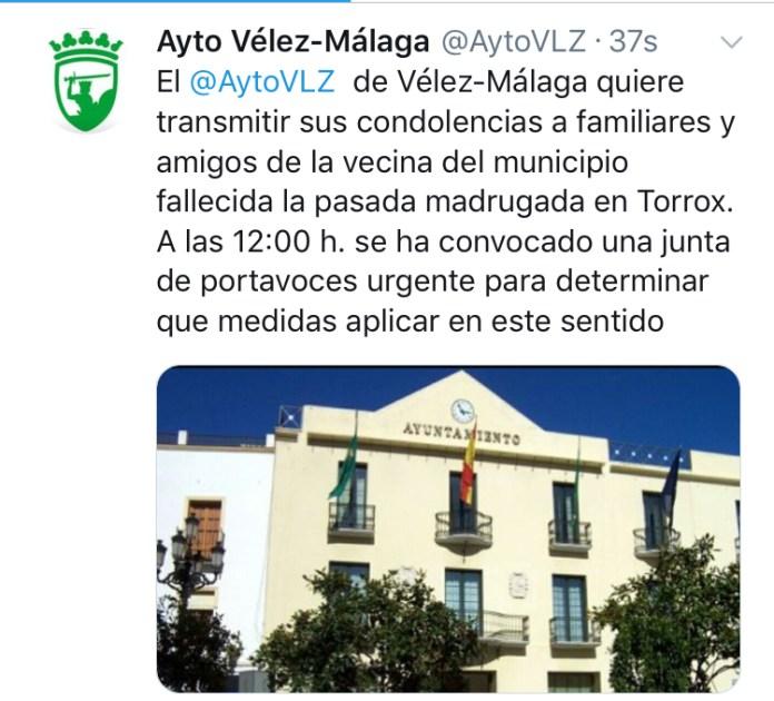 Condolencias del Ayuntamiento de Vélez-Màlaga tras la última muerte por violencia de género