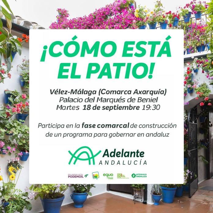 Adelante Andalucía celebrará su 'patio' axárquico el martes en el Palacio de Beniel