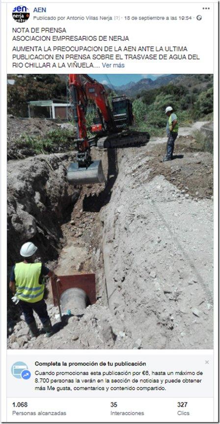 Comunicado Asociación Empresarios de Nerja sobre el trasvase de agua del Río Chillar al Pantano de La Viñuela