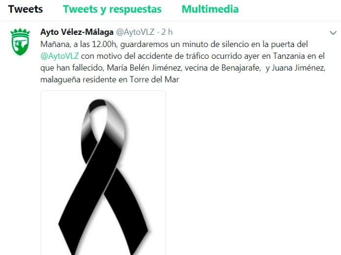 Condolencias del Ayuntamiento de Vélez-Málaga por los malagueños fallecidos en accidente de tráfico Tanzania