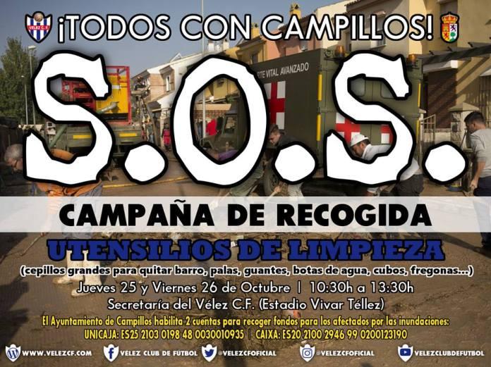 ¡TODOS CON CAMPILLOS!, campaña solidaria del Vélez Club de Fútbol para ayudar a las familias damnificadas por el temporal