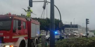 La Policía Local de Vélez -Màlaga ha informado de dos pequeños incidentes ocurridos en la rotonda de la Peugeot Comau de Vélez-Málaga. Un árbol que se ha caído y un camión que, al pasar, ha enganchado los cables del tranvía.