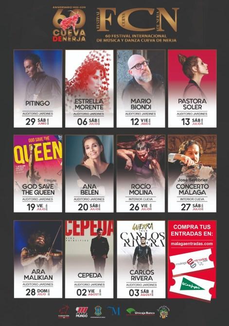 Ara Malikian, Estrella Morente, Pitingo y Ana Belén pondrán la música al 60 aniversario del Festival Cueva de Nerja, que duplica sus conciertos