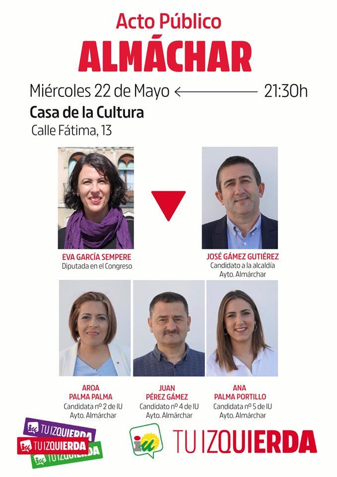 Eva García Sempere participará en un acto de IU en Almáchar