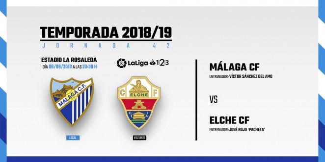 Málaga-Elche, sábado 8 de junio a las 20:30 horas