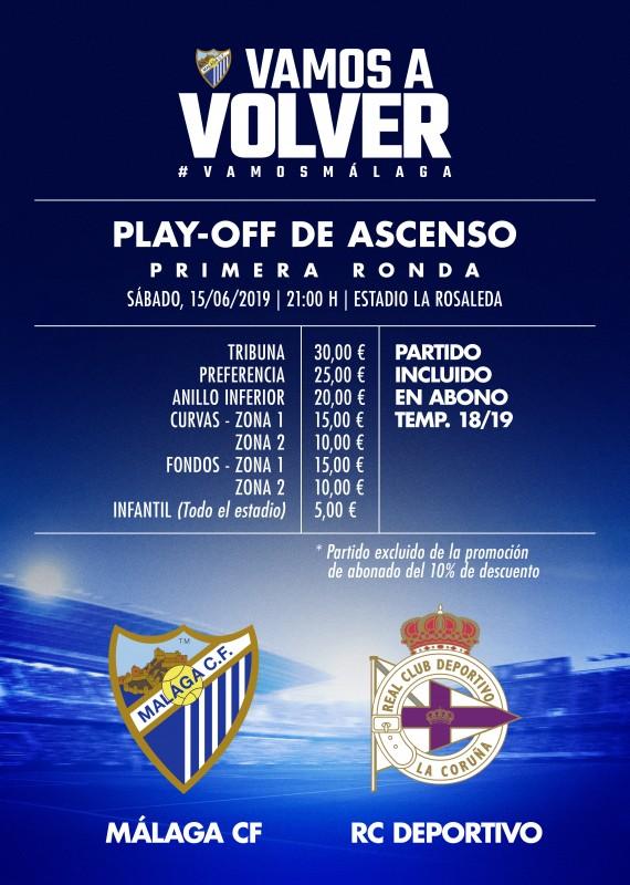 Entradas para el Play-off de ascenso Málaga C.F.- R.C. Deportivo
