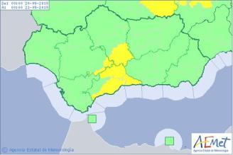 Aviso amarillo por fuertes lluvias en la provincia de Málaga