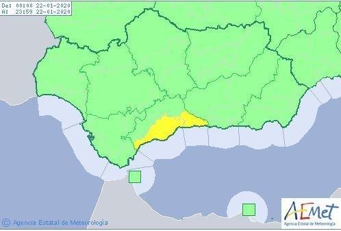 Aemet activa el aviso amarillo por fuertes lluvias en la Axarquía
