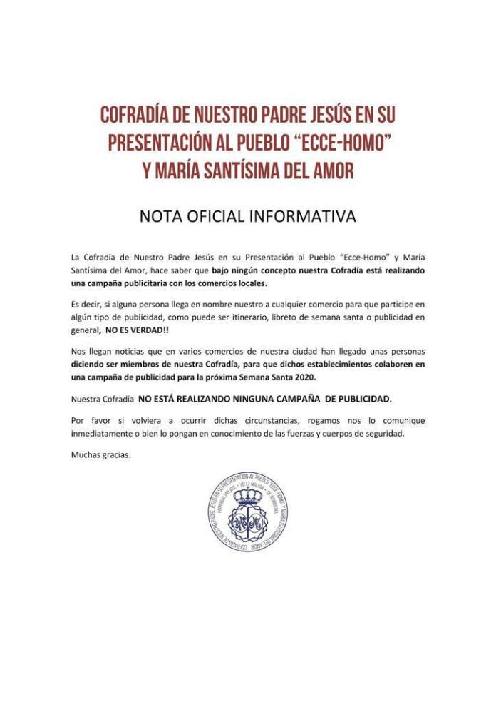 La Cofradía Ecce-Homo y Amor de Vélez-Málaga alerta de una falsa campaña publicitaria