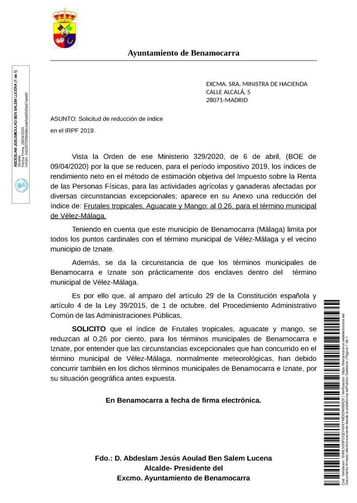 El Ayuntamiento de Benamocarra solicita a la ministra de Hacienda que el índice en el IRPF 2019 de frutales tropicales, aguacate y mango, se reduzcan al 0,26 por ciento