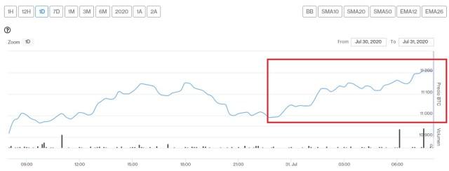 Evolución precio de Bitcoin este 31 de julio. Imagen de CriptoMercados DiarioBitcoin