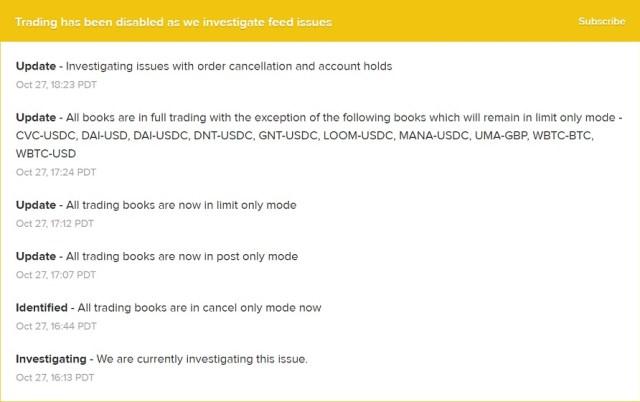 Actualizaciones del equipo de Coinbase Pro. Imagen de Coinbase Pro