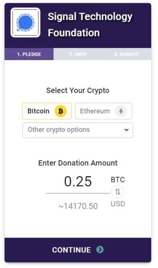 Signal donaciones criptomonedas