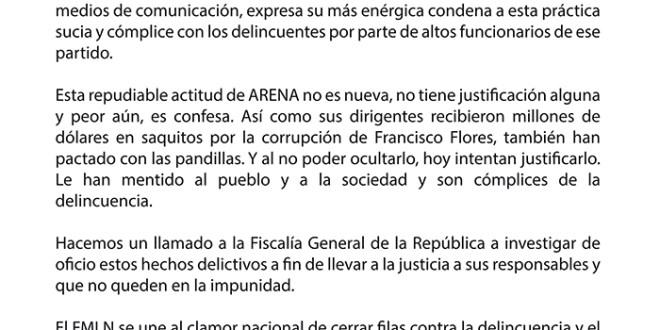 El FMLN condena negociación de ARENA con las pandillas