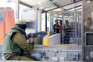 Puesto de control israelí en Cisjordania.