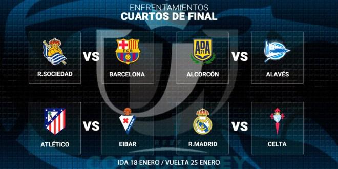 Real Sociedad-Barcelona y Real Madrid-Celta, en cuartos de la Copa