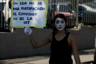 Las feministas exigieron respeto a los derechos laborales de la mujer. Foto Diario Co Latino/ Ludwin Vanegas.