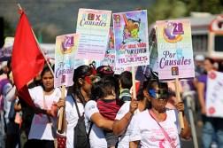 Las feministas demandaron justicia por los 416 feminicidios ocurridos en el presente año. Foto Diario Co Latino/ Ludwin Vanegas.