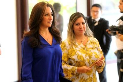 La alcaldesa de Nuevo Cuscatlán por el FMLN, Michelle Sol y una de las personas muy cercanas a Nayib Bukele también estuvo presente en la ceremonia. Foto Diario Co Latino/ David Martínez.