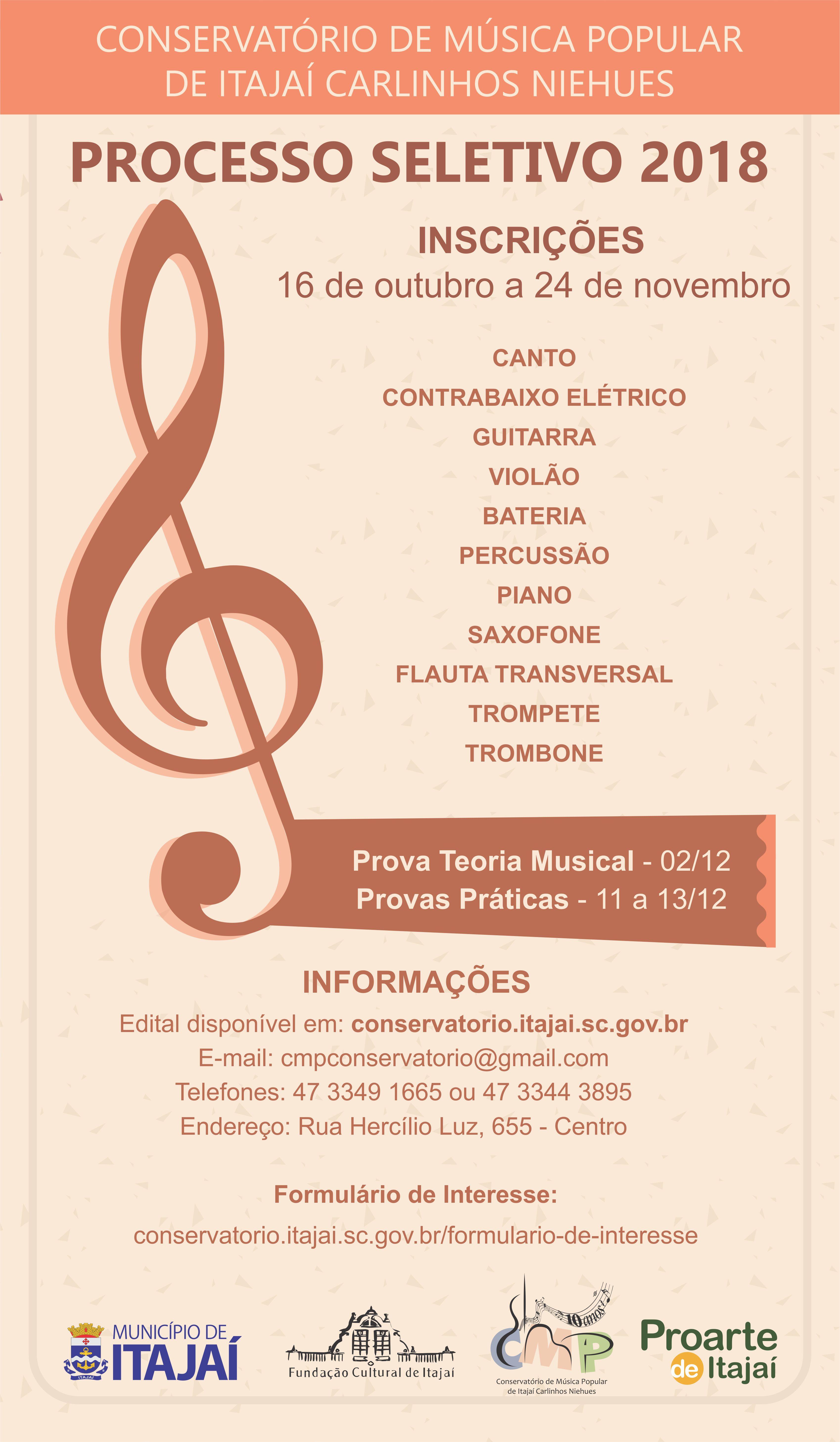Encerra sexta feira o prazo para se inscrever no for Conservatorio de musica