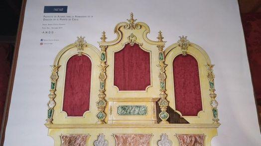Boceto del retablo para las imágenes titular de El Huerto que ya tenía la junta de Ignacio Robles.