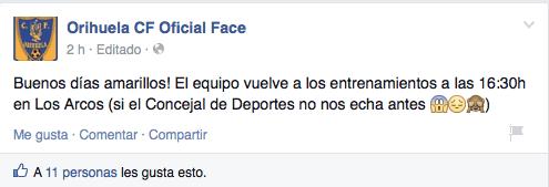 OrihuelaCF Facebook Captura de pantalla