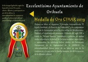 Orihuela recibe la medalla de Oro CIHAR