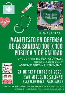"""El próximo 26 de septiembre tendrá lugar un encuentro """"por una sanidad valenciana 100X100 pública y de calidad"""""""