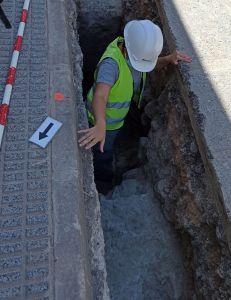 Hallan restos de una muralla medieval junto a la Plaza de Monserrante en Orihuela