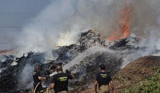 Bomberos de Sevilla extinguen un incendio en una empresa residuos vegetales