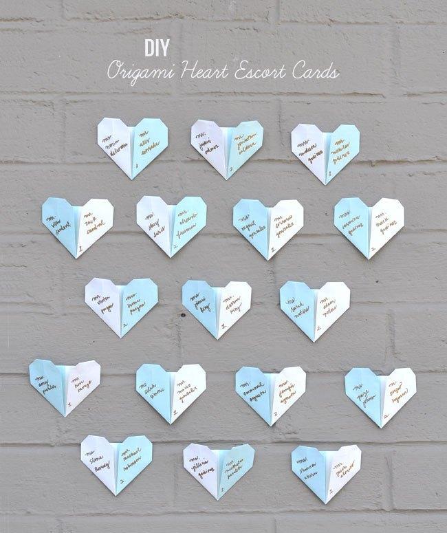 seating plan diy origami corazon