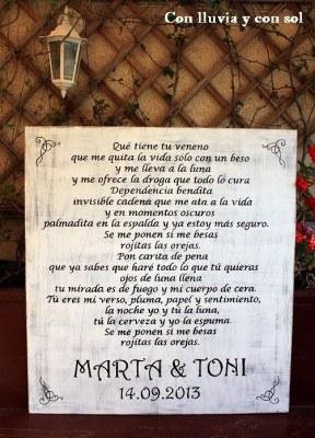 cartel de madera dedicado para boda 5